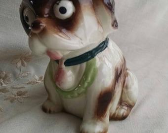 Vintage pug dog pottery planter