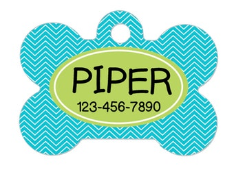 Custom Pet ID Tag - Pet ID Tag - Chevron Pet ID Tag for Dog - Bone Pet id Tag - Turquoise Lime Green