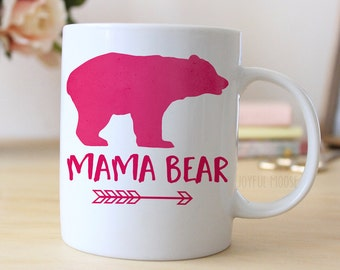 Pink Coffee Mug Watercolor Mama Bear Mug - Gift for New Mom