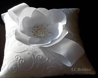 White Flower Wedding Ring Bearer Pillow
