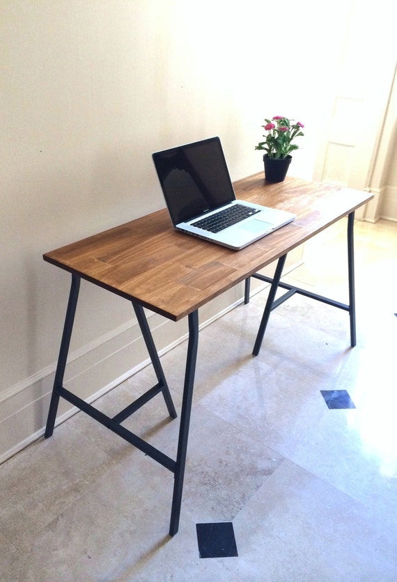 48x20 long narrow desk table on ikea legs by goldenrulenyc