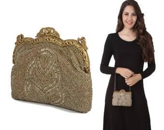 MyBatua Claire Dull Gold Antique Vintage Bag Embroidered with Glass Beads and Glass Tubes Ladies Purse for Parties ACP-086
