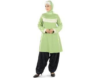 MyBatua Women's Nadimah Tunic | Parrot Green Crepe Kurti Online | Islamic Clothing | Muslim Blouse Online KRF-0118