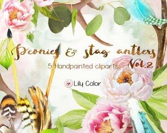 Peonies & Stagantlers Vol.2 /Handpainted cliparts / High Quality 300ppi / Big size / PNG.