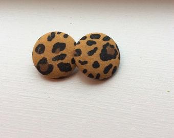 Cheetah Print Fabric Button Earrings Size 45