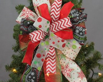 Funky Chalkboard Chevron Christmas Bow -  Christmas Wreath Bow,   Christmas Tree Bow, Whimsical Christmas Bow