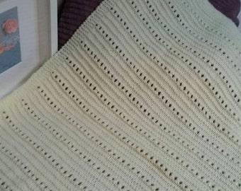 Knitted Baby Blanket, Baby Afghan, Lemon