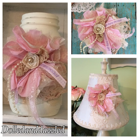 pink baby shower corsage for a girl/ mom to be/ shabby chic, Baby shower invitation