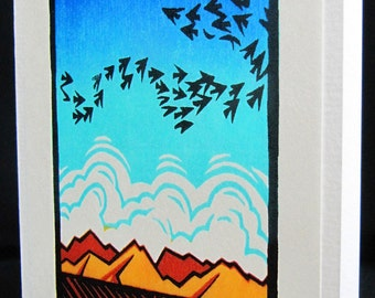 Hand pulled, woodblock printed greeting card, 'Bright Sky'.