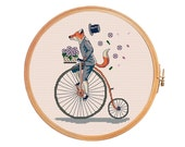 Fox on bicycle rides with speed, loses his hat, basket of flowers scatter on the wind flow - retro cross stitch vintage modern cross stitch