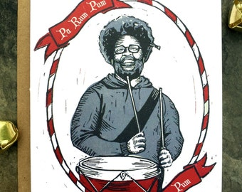 Questlove/Little Drummer Boy/Christmas Card/Holiday Cards/Linocut