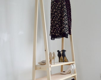 Handmade, Natural Wood, Clothes Rack, Clothes Rail with 3 Shelves