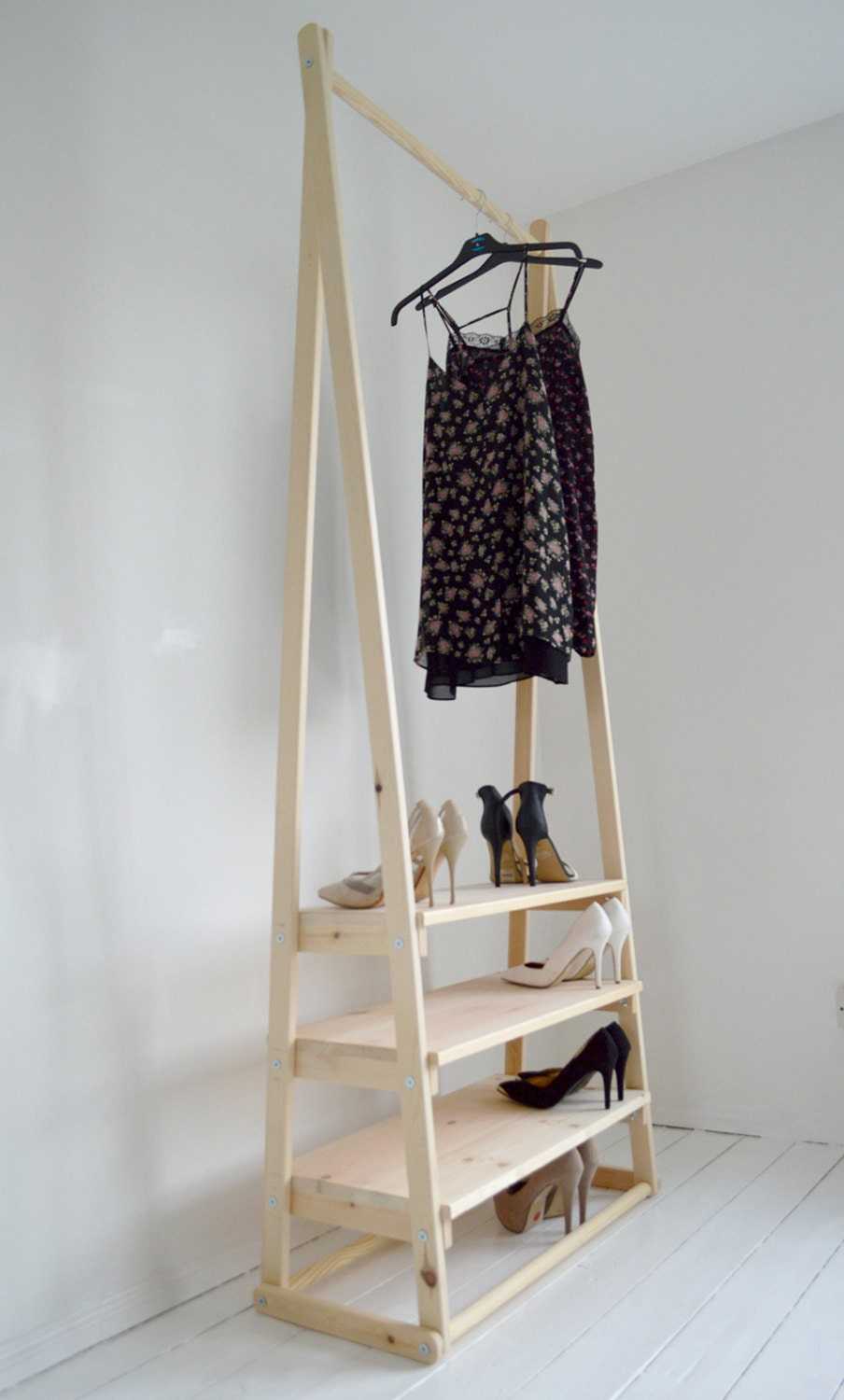 Handmade natural wood clothes rack rail with