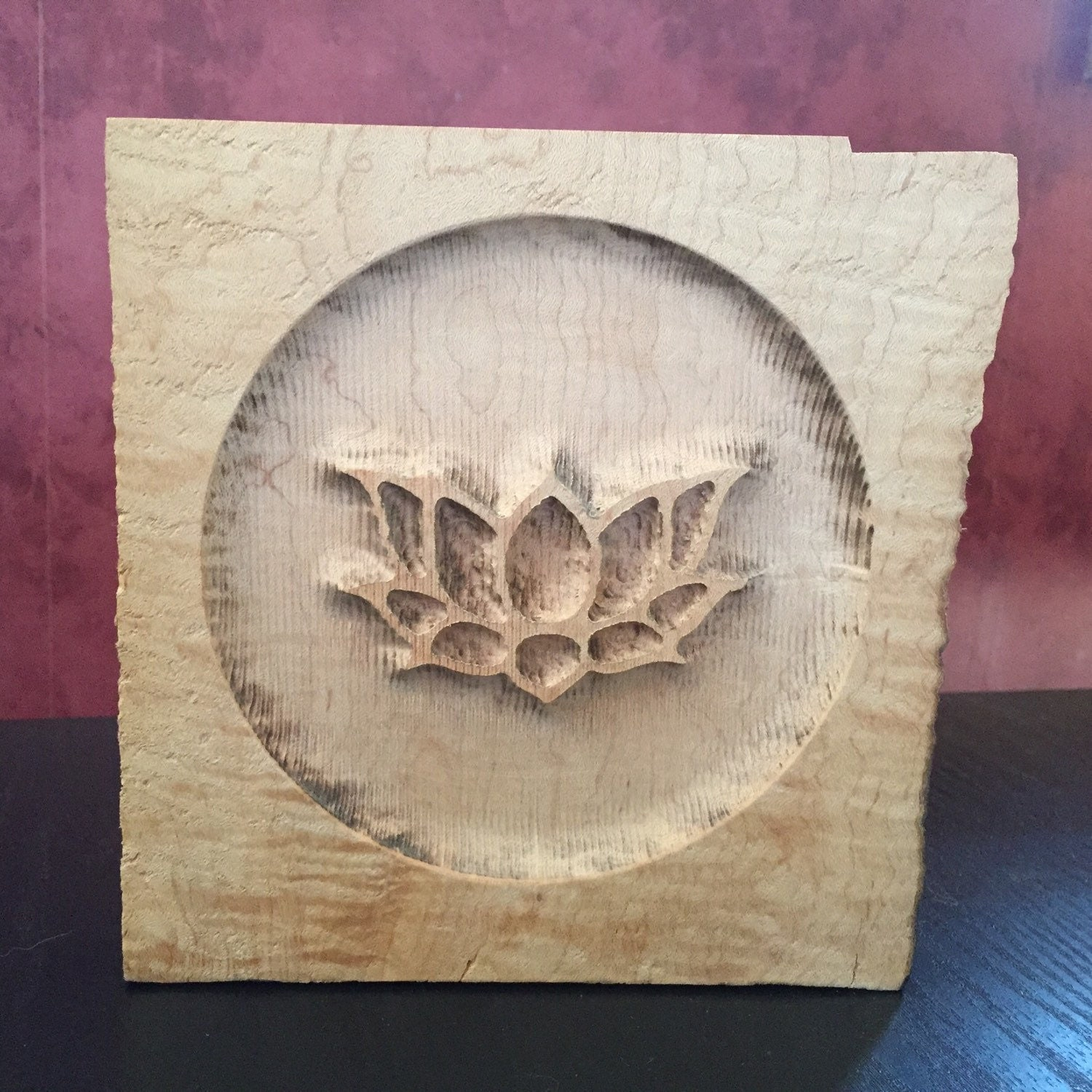 Lotus carving in curly maple