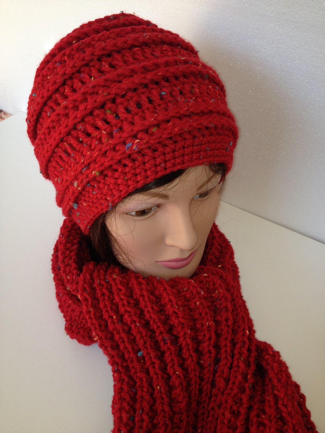 Crochet hipster Beanie Cloche hat with Knitted Scarf.