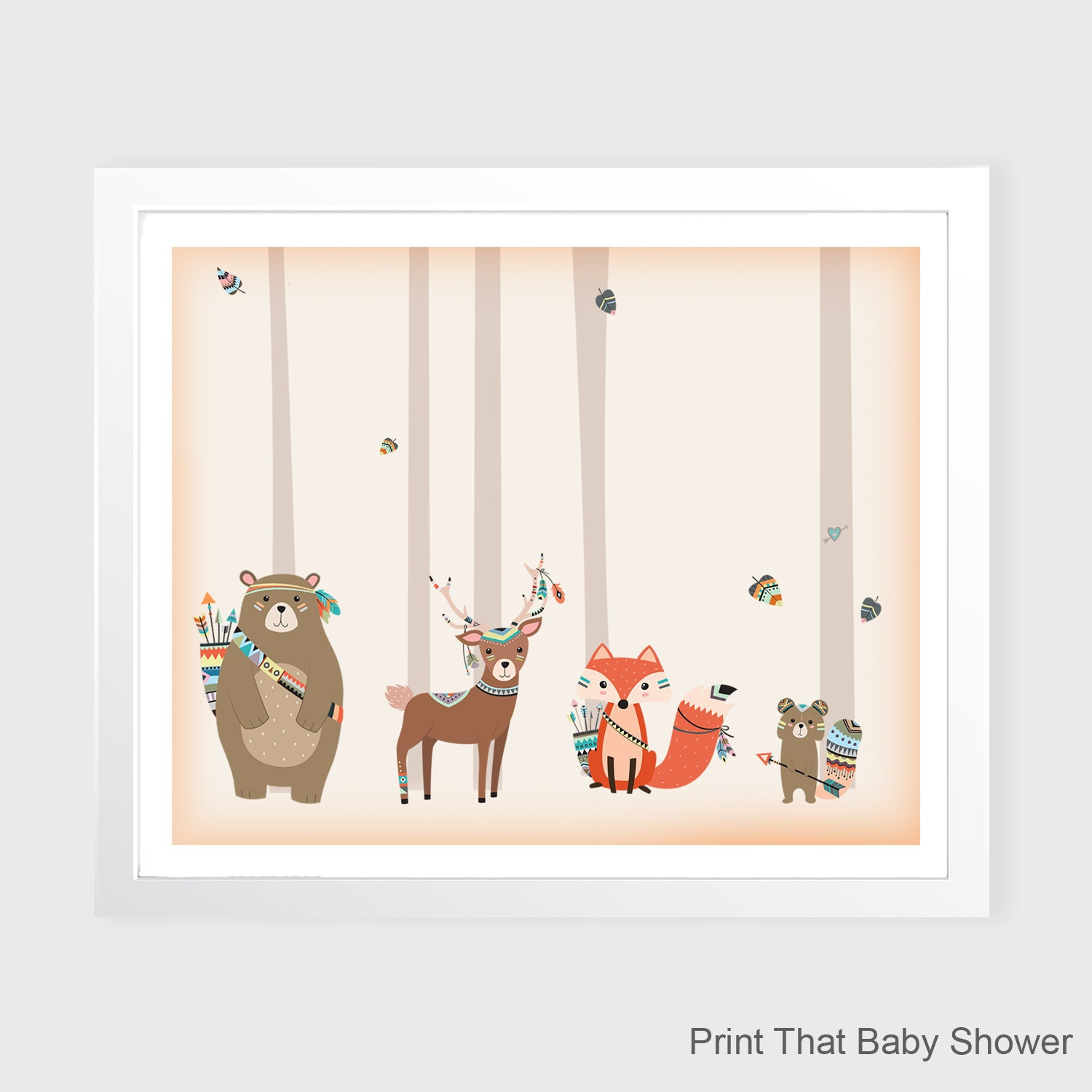 Tribal Woodland Wall Art Nursery Decor Tribal Animals Kids