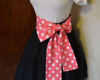 Sash Only Bright Pink/White Polka Dots