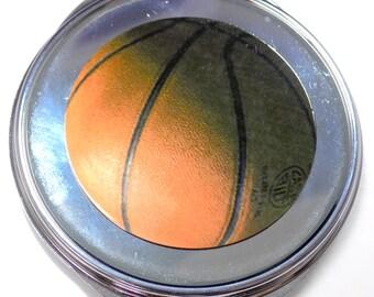 Basketball Inset Metal Compact Makeup Mirror Case MEN-0046