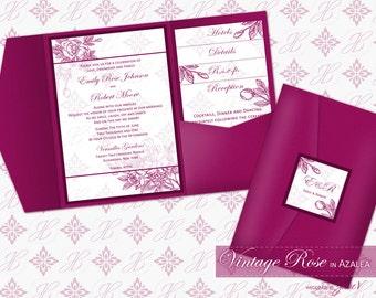 Wedding Printable Pocket Folder Invitation Download | DIY Wedding Editable Template (Classic Pocket) | Vintage Rose in Azalea