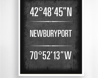 "Newburyport, Massachusetts - Geographic Coordinate Print,  8"" x 10"" or 11"" x14"""