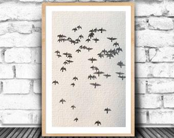 Bird print, Bird wall decor, Rustic home decor, Wildlife photography, Fine art, Bird lovers gift, Black and white print, Nature photography