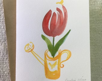 Hand painted watercolor card