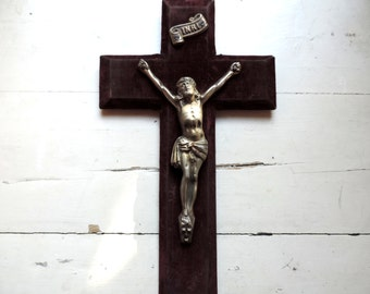 French Vintage Crucifix/ French Antique Crucifix/ Antique Crucifix/Large Velvet Crucifix/Crucifix