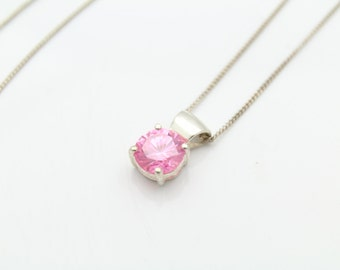 "Sterling Silver Bright Pink CZ Solitaire Slide Necklace Curb Chain 16"". [6009]"