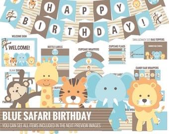 Blue Safari Birthday package, all you need to decor your safari birthday - Printable PDF files.