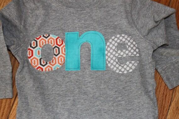 1st birthday Boys shirt orange, teal gray dots, first Birthday one fabric letters shirt, orange, teal and gray colors pattern, boy birthday