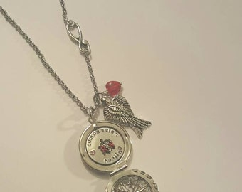 Personalized RN Handstamped filigree locket & angel wing charm/Stethoscope charm necklace