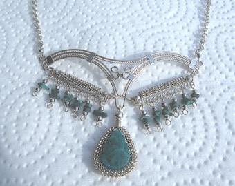 Peruvian Chrysacolla Stone Necklace #48