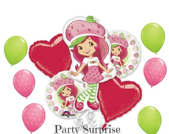 Strawberry Shortcake Balloon Package Girl Party Balloons  Pink Rose Lime Balloons