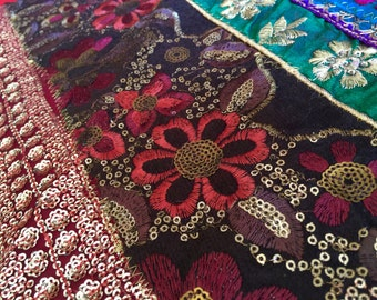 Indian Hand Embroidered Work Wall Tapestry/ Wall Hanging/ Table Runner made with yards of gorgeous laces and braids.