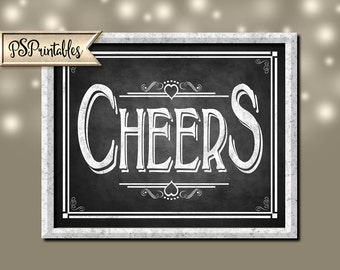 simply a CHEERS bar Sign - instant download file - DIY printable wedding or party bar sign - Chalkboard open heart collection