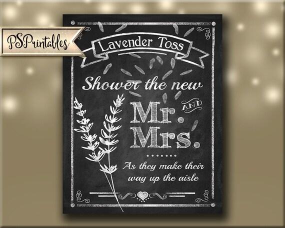 lavender toss wedding sign diy printable chalkboard style