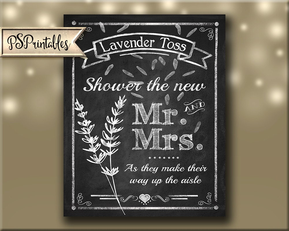 lavender toss wedding sign diy printable chalkboard style