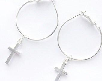 Silver cross hoops