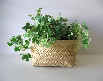 Vintage Hand Woven Reed Basket / Handmade Reed Basket / Home Decor