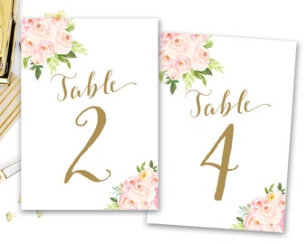 Printable Table Numbers Floral, Floral Table Numbers, Boho Floral Table Numbers, Wedding Table Number, DIGITAL The Bella