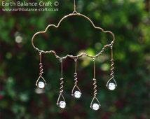 Suncatcher, Rain Cloud, Glass Rain Drops, Cloud Mobile, Copper Wire Art, Garden Art, Cobalt Blue, Whimsical Cloud, Wire Wall Art, Window Art