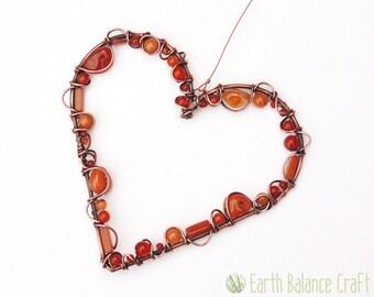 Autumn Bliss Heart Suncatcher, Fall Decoration, Autumn Gift Ideas, Orange Love Heart, Natural Crystal, Autumn Decor, Outdoor Garden Art
