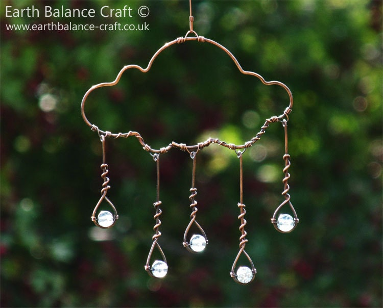 Suncatcher rain cloud glass rain drops cloud by for Very simple wire craft projects