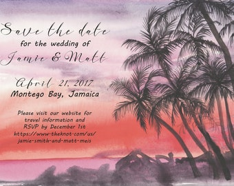 Tropical sunset watercolor save the dates