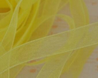 Sheer Organza Ribbon 10mm 3/8 x 5 Canary Yellow R037