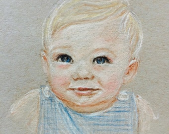 Custom Baby Portrait with Mat - Small