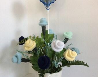 Diaper Boy baby shower centerpiece,  boy baby shower bouquet,  Newborn gift,  Mother to be gift