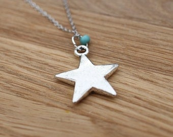 Silver Star Necklace,  Simple Star with Turquoise Bead Jewellery/ Layering Friendship necklace