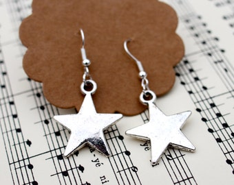 Silver Star Earrings,  Star  jewellery