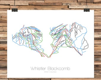 Whistler Blackcomb British Columbia  - Modern Ski Trail Map - Line Drawing